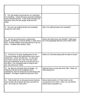 Close Reading - To Kill A Mockingbird - Graphic Organizer