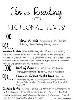 Close Reading Tool Kit for Informational and Fictional Texts