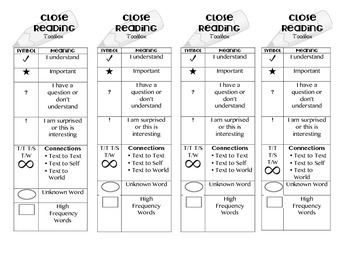 Close Reading Toolkit & Evidence Frames Bookmark