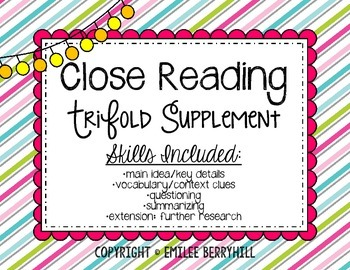 Close Reading - Trifold Supplement