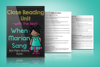 "Close Reading Unit with the text ""When Marian Sang"""