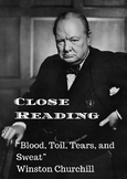 Close Reading Using Blood, Toil, Tears, and Sweat by Winst