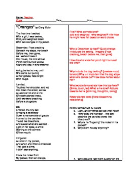 """Close Reading Using Poetry """"Oranges"""" by Gary Soto"""
