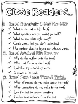 Close Reading Steps & Organizer