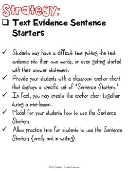 Close Reading Using Text Evidence SENTENCE STARTERS ~ Comprehension FREE ~ RTI
