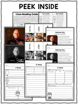 Close Reading Passage - Veterans Day Activities