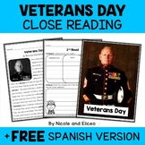 Close Reading Passage - Veterans Day Activities