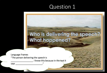 Close Reading Visible Learning PowerPoint with TDQs and Language Frames