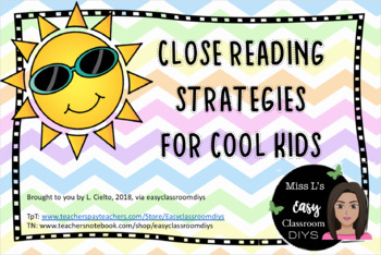 Close Reading Wall Chart, for the Middle School Classroom