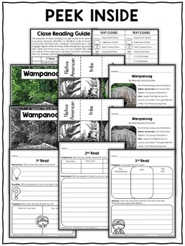 Close Reading Passage - Wampanoag Activities