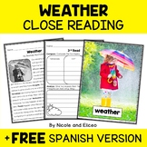 Weather Close Reading Passage Activities