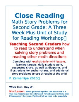 Close Reading With Math Story Problems for Second Grade: 3-4 Weeks