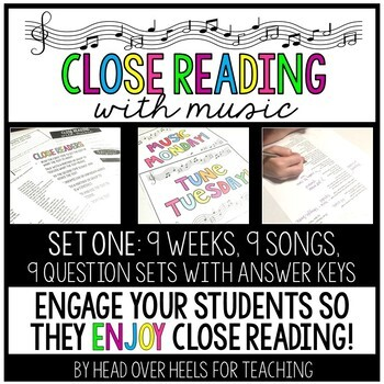 Close Reading With Music-Engage Your Readers! {Set One}