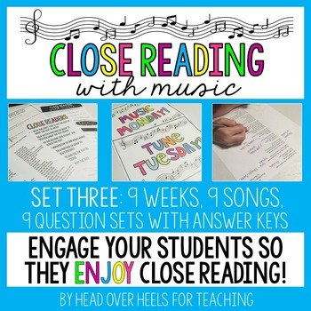 Close Reading With Music-Engage Your Readers {Set Three}