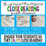 Close Reading With Music-Engage Your Readers {Volume 1, Set Three}