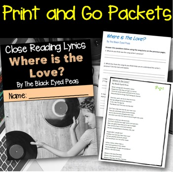 Poetry They Will LOVE: Close Reading With Song Lyrics- Bundle of 5