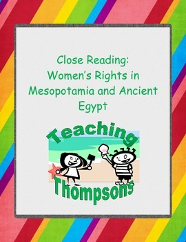 Close Reading Women's Rights in Mesopotamia and Ancient Egypt