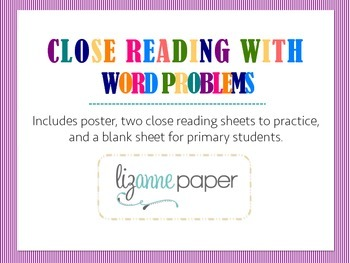 Close Reading Word Problems