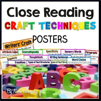 Writer's Craft Technique Posters for Beginning Readers and