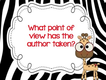 Close Reading ZEBRA themed Posters & Checklist! Questions help readers think!