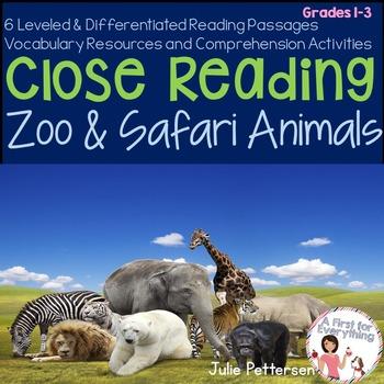 Close Reading Zoo and Safari Animals
