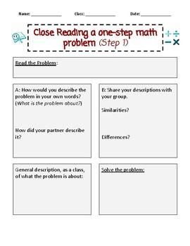 Close Reading a one-step math word problem (Step 1)