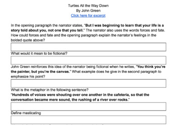 Close Reading an Excerpt of John Green's Novel Turtles All the Way Down