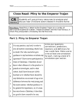 Close Reading and Annotation of Pliny's Letter to Trajan