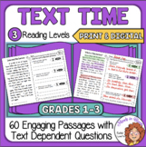 Close Reading and Reading Comprehension Passages with Text