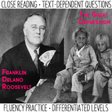 Close Reading and Fluency Practice  FDR & The Great Depression