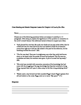 Close Reading and Reader Response Lesson for Chapter 4 of Lord of the Flies