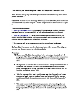 Close Reading and Reader Response Lesson for Chapter 4 of