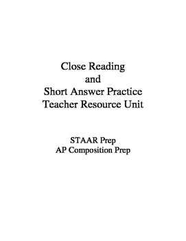 Close Reading and Short Answer Response Teacher Resource Unit