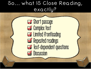 Close Reading and Text Dependent Questions Presentation with Engaging Activities