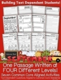 Back 2 School FREEBIE September Close Reading Differentiated Passages/Activities