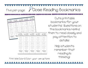 Close Reading bookmarks