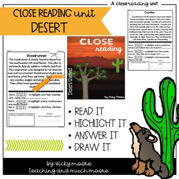 Close Reading { desert themed } Non - Fiction Text