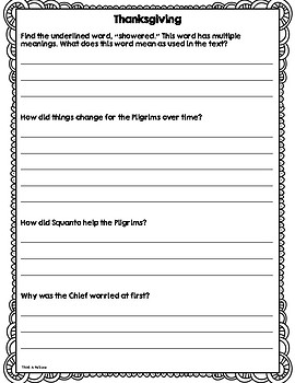 Close Reading for Big Kids: Thanksgiving - Text and Text Dependent Questions