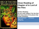 Close Reading for Chapters 1-2 of The Lord of the Flies