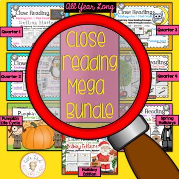 Close Reading for Kindergarten & First Grade Year Long BUNDLE (Quarters 1-4)