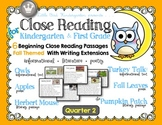 Close Reading for Kindergarten & First Grade: Quarter 2 Fall Bundle