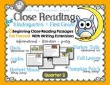 Close Reading for Kindergarten & First Grade: Quarter 2 Fa