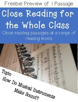 Close Reading for Multiple Reading Levels **FREEBIE PREVIEW**