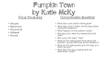 Close Reading for Pumpkin Town