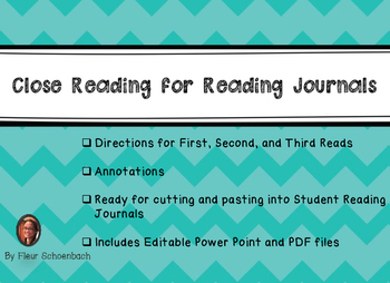 Close Reading for Reading Journals- Editable