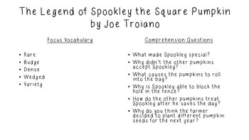 Close Reading for Spookley the Square Pumpkin