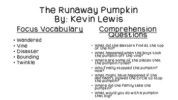 Close Reading for The Runaway Pumpkin