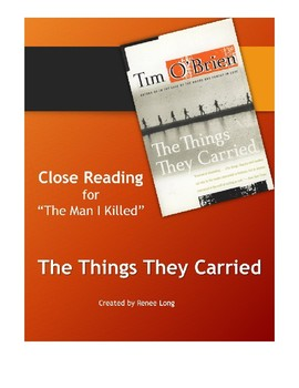 """Close Reading for Tim O'Brien's """"The Man I Killed"""" in The Things They Carried"""