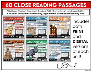 Reading Comprehension Passages and Questions for the Year - Close Reading