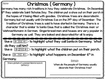Christmas Around the World Close Reading { holiday themed }